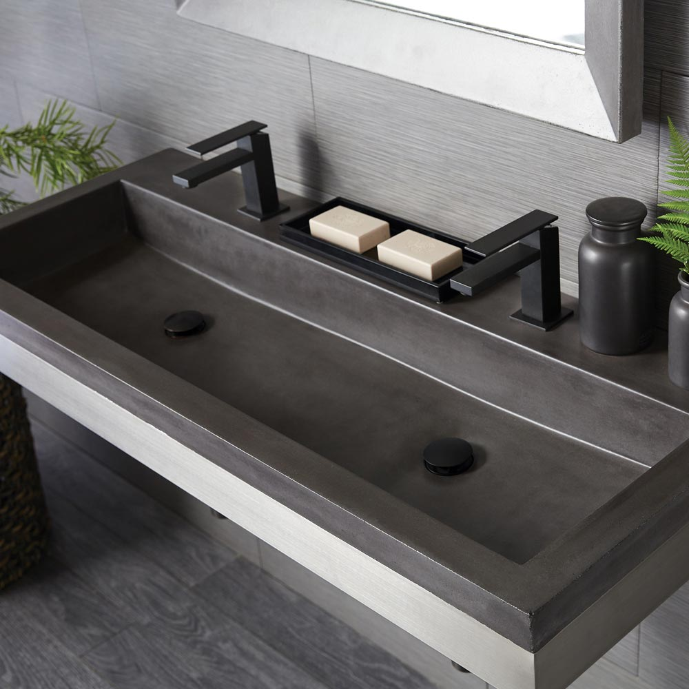 Trough 4819 Concrete Trough Double Bathroom Sink Native