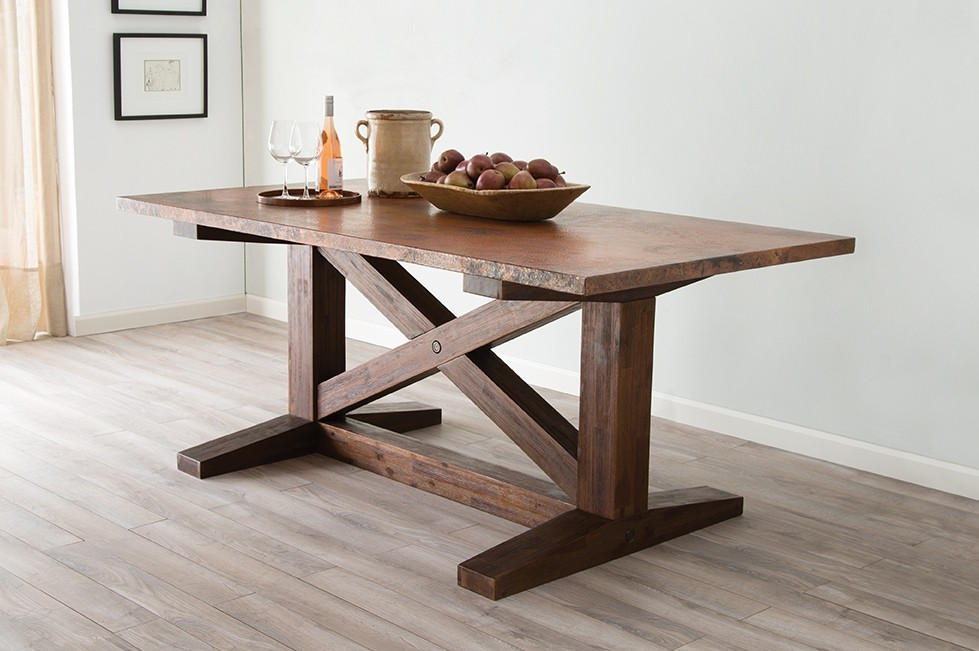 Farmhouse Style Copper Trestle Table