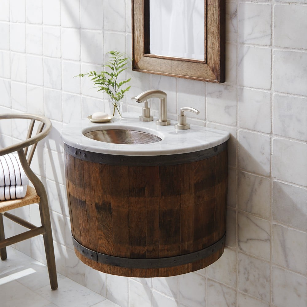 Bordeaux Wine Barrel Wall-Mounted Bathroom Vanity Base