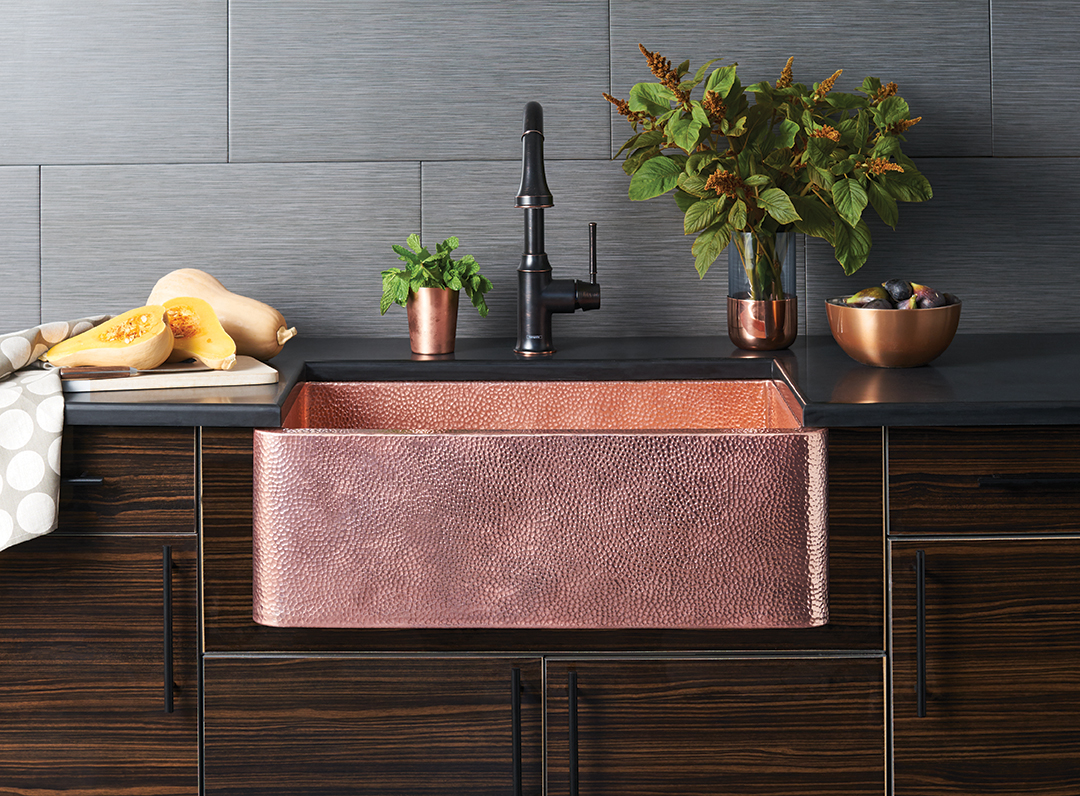 Polished Copper kitchen sink