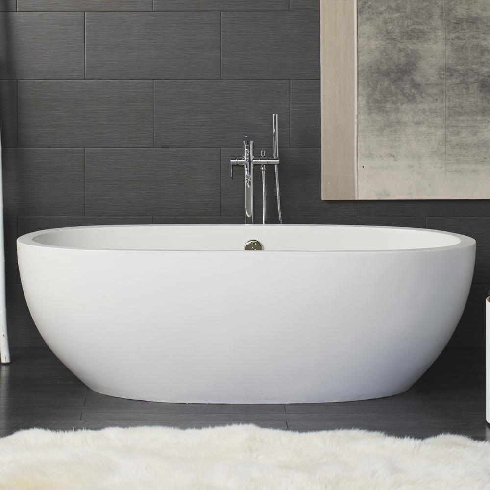 NativeStone Avalon freestanding concrete bathtub in Pearl