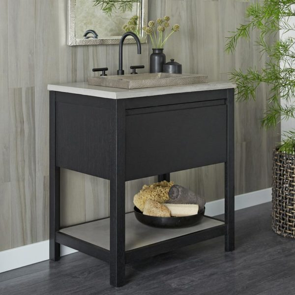 Solace 30in Oak Vanity Base in Midnight (VNO308)