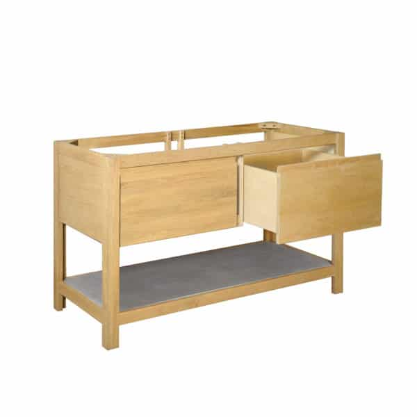 Solace-48in-Oak-Vanity-Base-Sunrise-VNO481-SILO-Angle-One-Drawer-Open