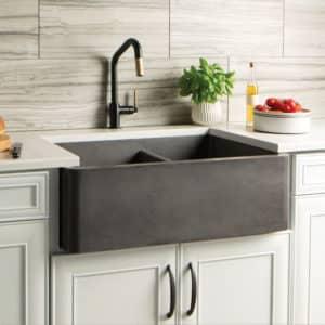 Farmhouse Double Bowl NativeStone Kitchen Sink in Slate (NSKD3321-S)