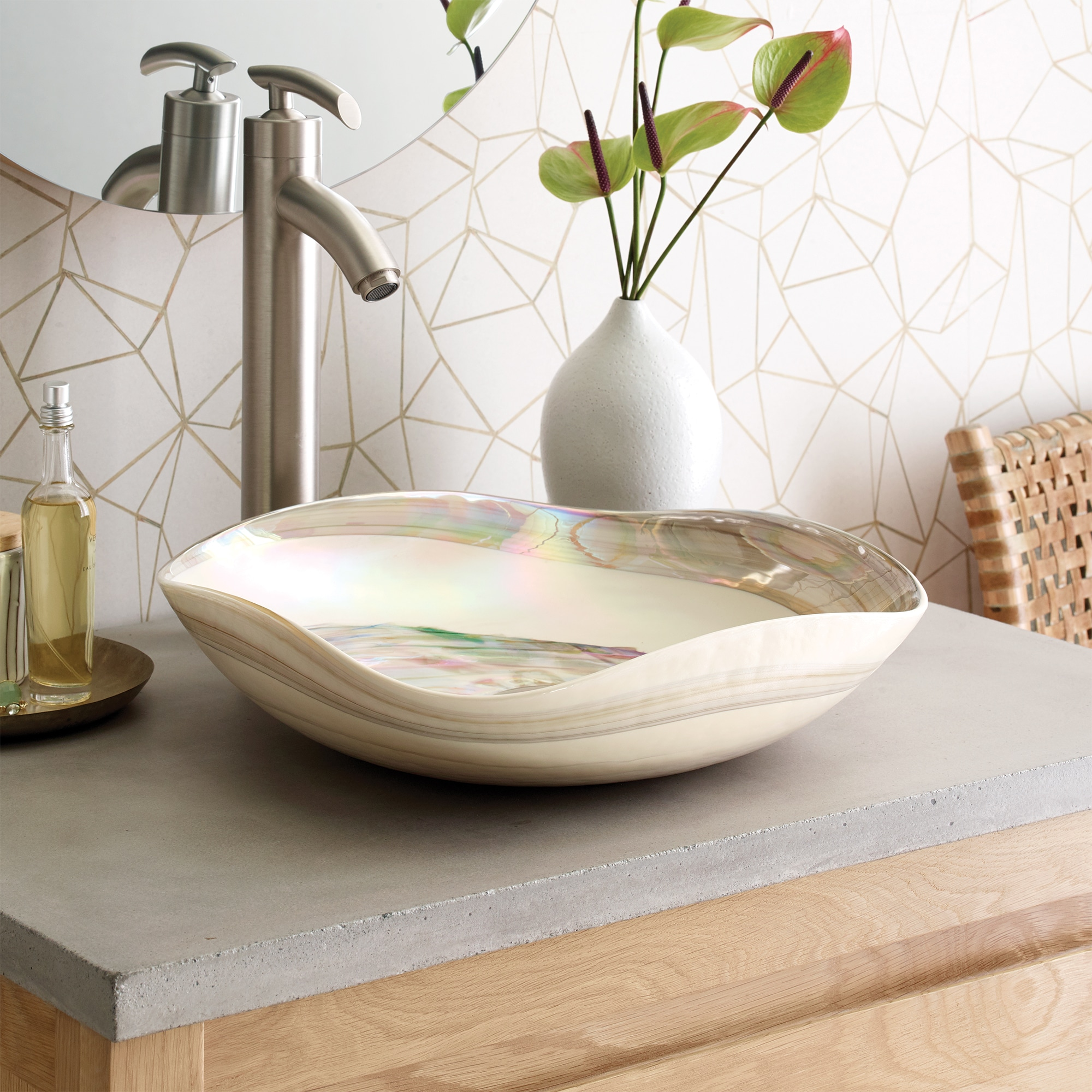 Lido Glass Vessel Sink in Abalone (MG1515-AE)