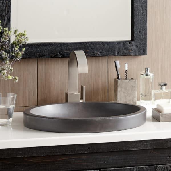Tolosa NativeStone Bathroom Sink in Slate (NSL1916-S) Drop in