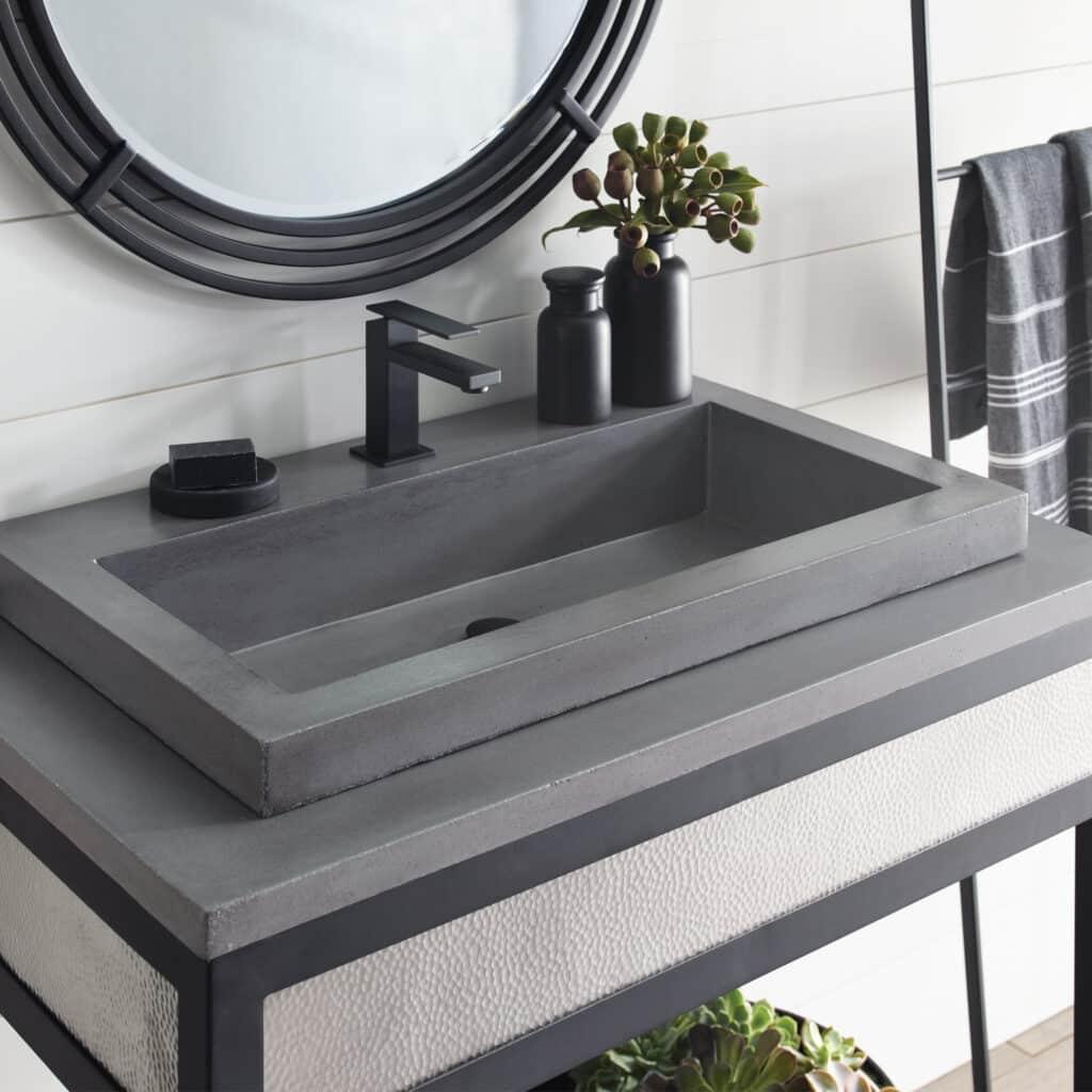 Trough 3019 NativeStone Bathroom Sink in Slate (NSL3019-S)