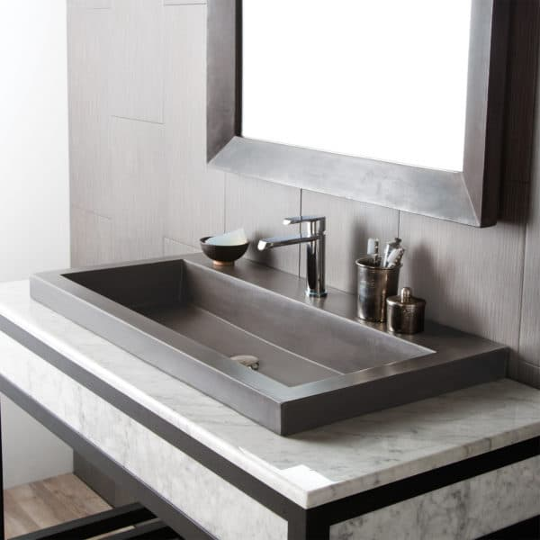 Trough 3619 Concrete Bathroom Sink in Slate (NSL3619-S)