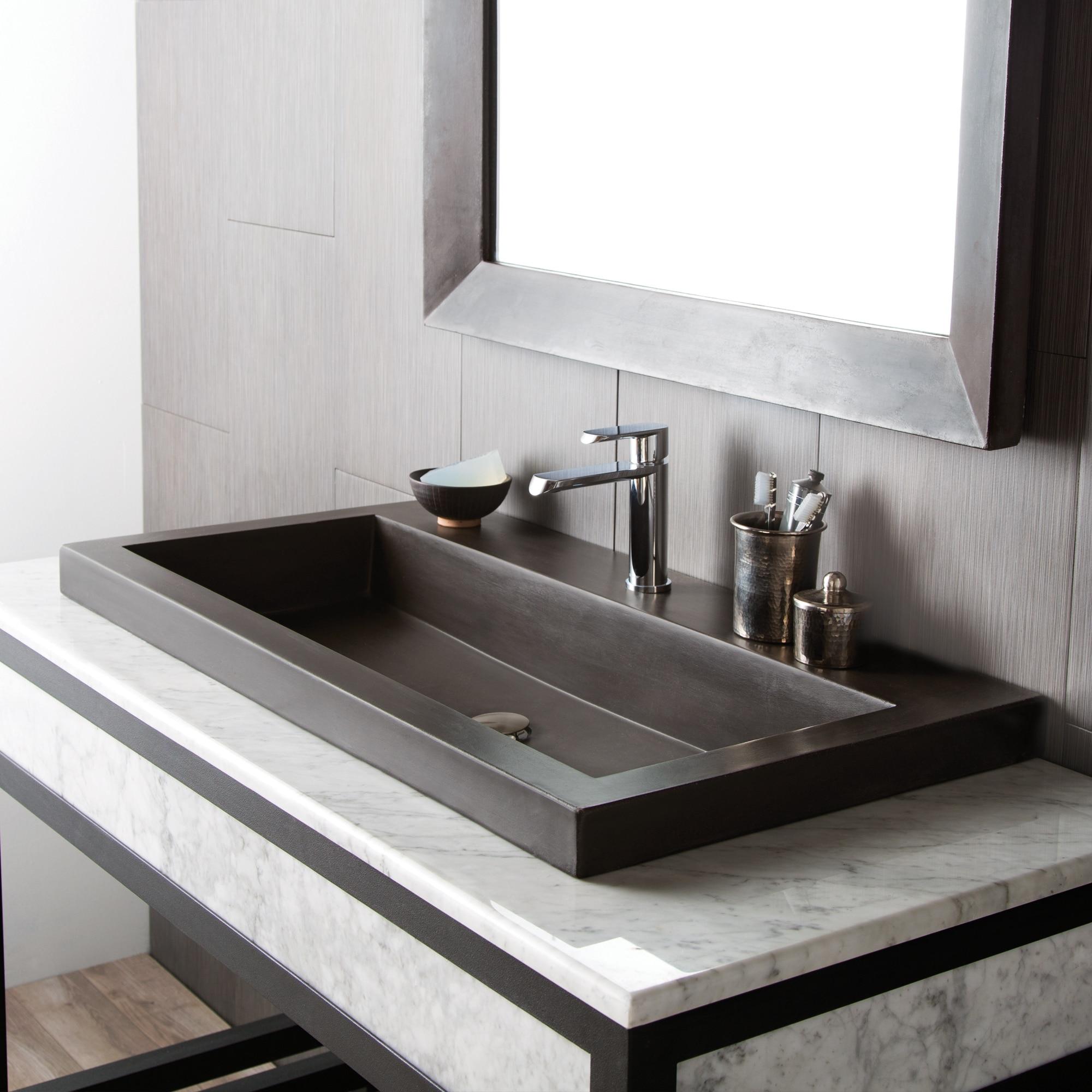 36 Inch Concrete Trough Bathroom Sink, Trough Sink For Bathroom