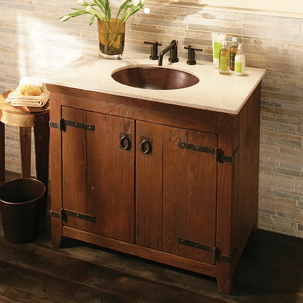 Americana 36 Inch Reclaimed Wood Bathroom Vanity Base Native Trails