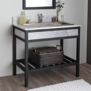 Cuzco 36in Steel Vanity Base in Carrara (VNR366)
