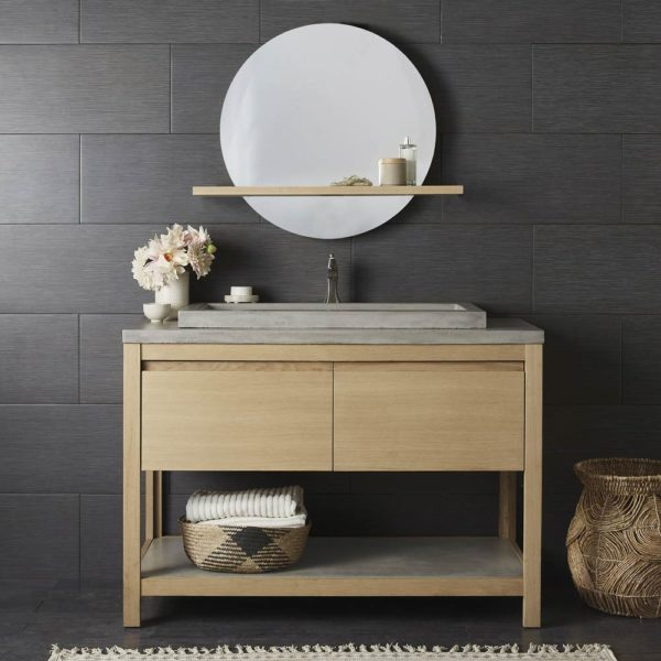 Solace 48in Oak Vanity Base in Sunrise (VNO481) with Ash Trough (NSVNT48-A)