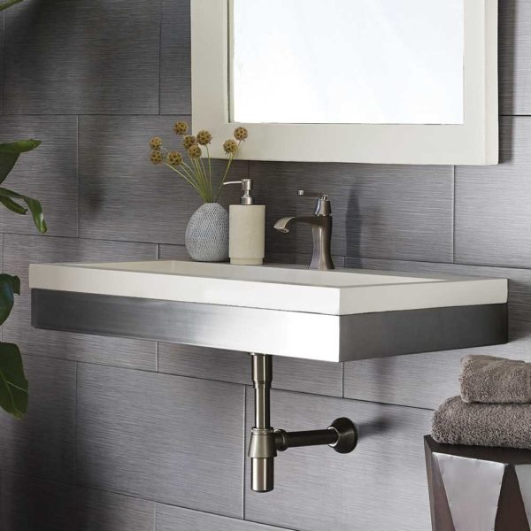 Zaca 36in Wall Mount (VNS36S) with Pearl Trough (NSL3619-P)