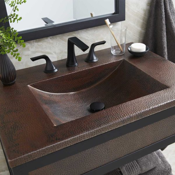 Cozumel 30in Copper Bathroom Sink in Antique (VNT3022)