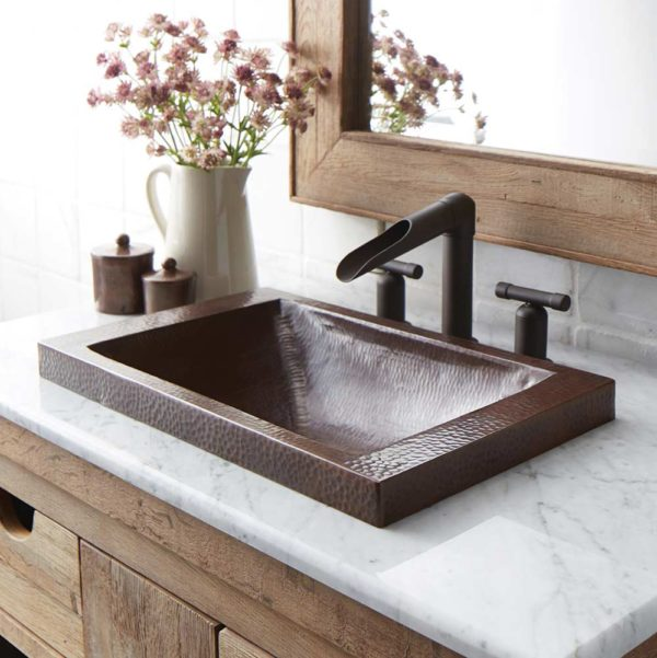 Hana Copper Bathroom Sink in Antique (CPS242)