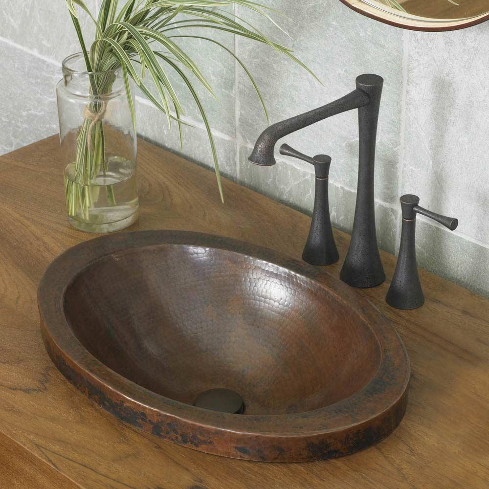 Inch Round Copper Drop In Bathroom Sink