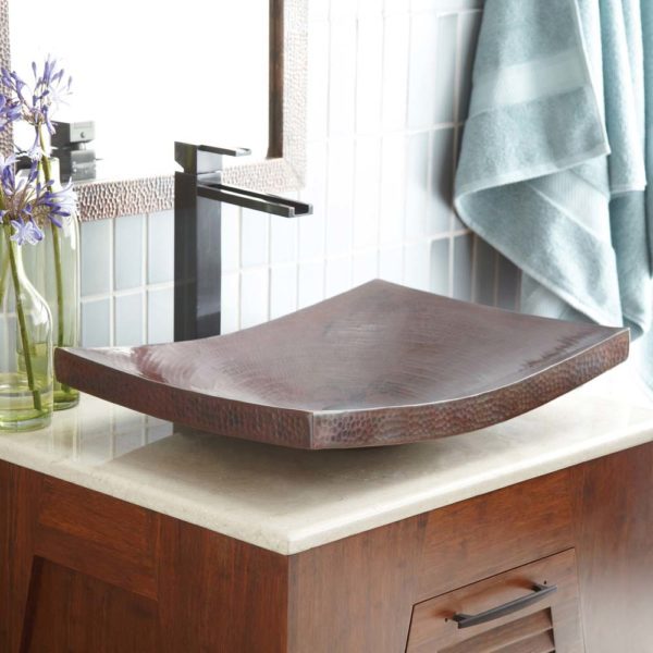 Kohani Copper Bathroom Sink in Antique (CPS257)
