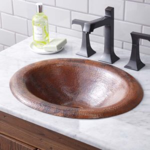 Maestro Lotus Copper Bathroom Sink in Tempered (CPS386)