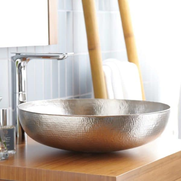 Maestro Sonata Copper Bathroom Sink in Brushed Nickel (CPS584)