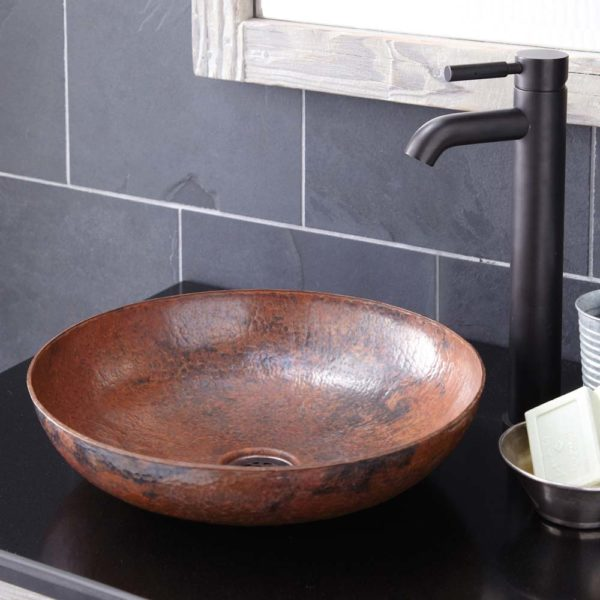 Maestro Sonata Petit Copper Bathroom Sink in Tempered (CPS383)
