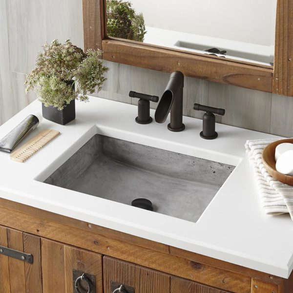 Nipomo Concrete Bathroom Sink in Ash, Undermount (NSL1915-A)