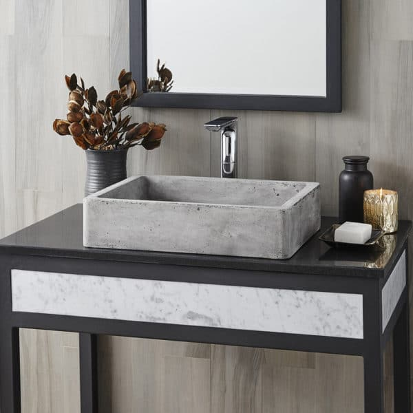 Nipomo Concrete Bathroom Sink in Ash, Vessel (NSL1915-A)