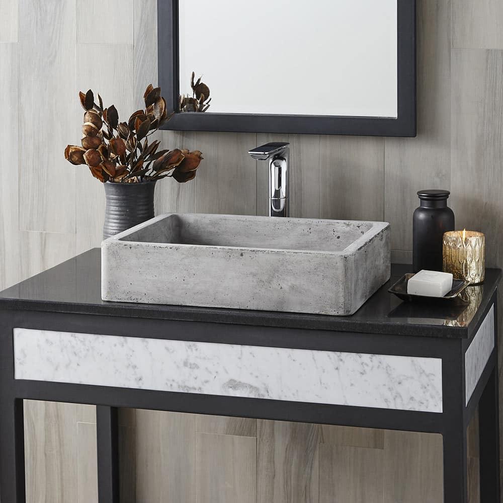Nipomo Concrete Bathroom Sink in Ash, Vessel (NSL1915-A)