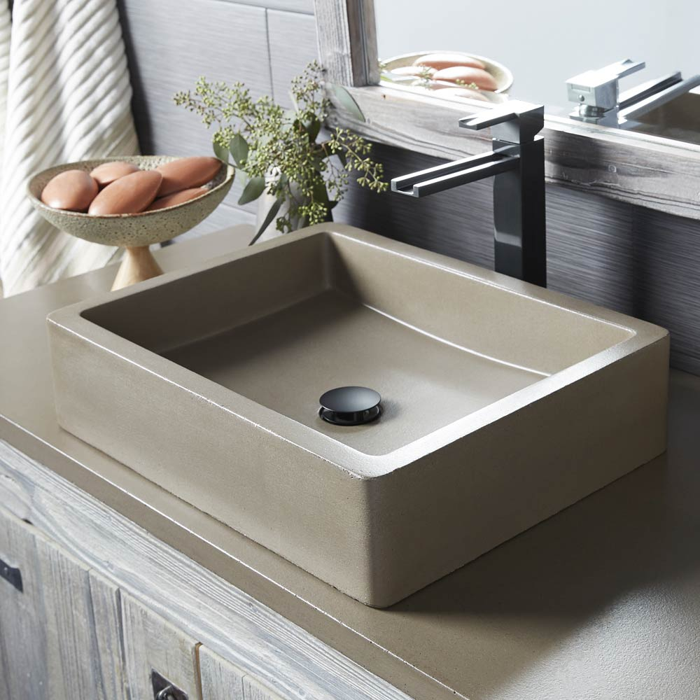 Rectangular Concrete Bathroom Sink