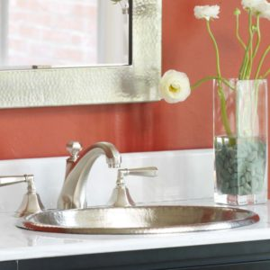 Rolled Classic Copper Bathroom Sink in Brushed Nickel (CPS540)