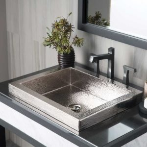 Tatra Copper Bathroom Sink in Polished Nickel (CPS846)