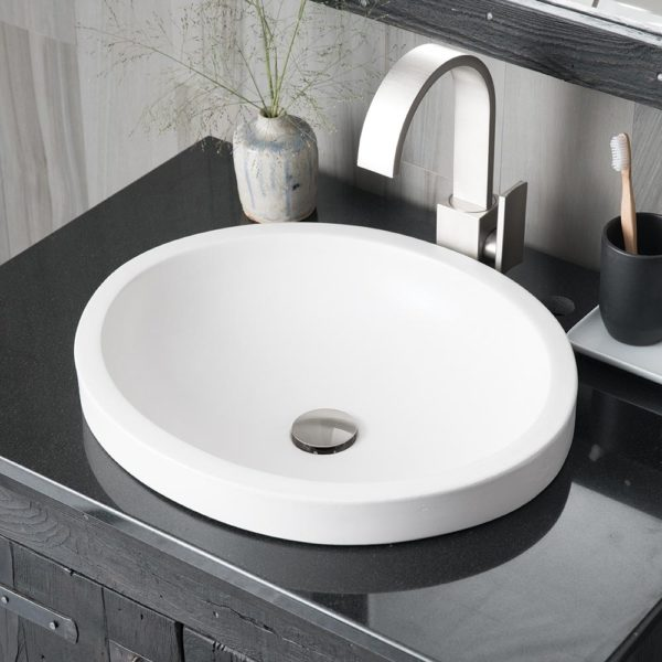 Tolosa Concrete Bathroom Sink in Pearl, Drop-In (NSL1916-P)