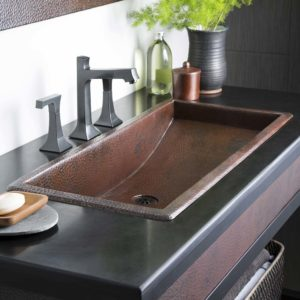 Trough 36 Copper Bathroom Sink Antique in (CPS206)