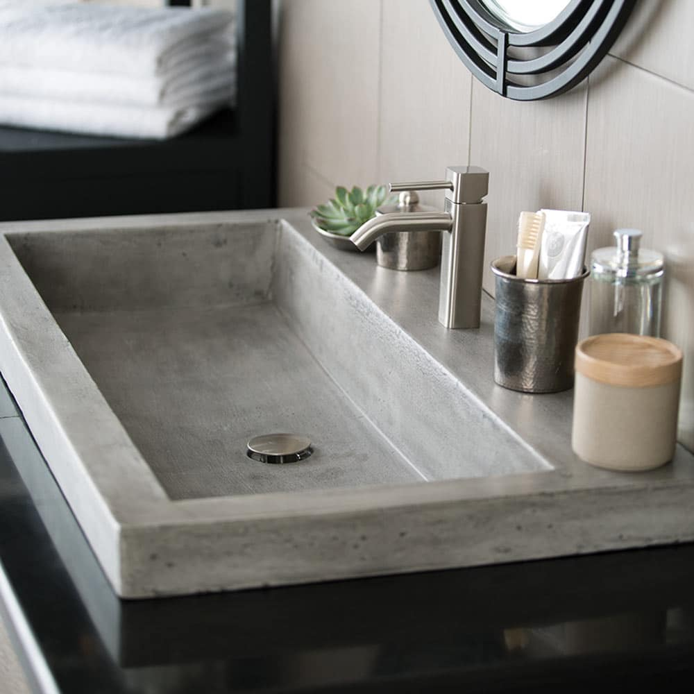 Trough 3619, 36-Inch Concrete Trough Bathroom Sink
