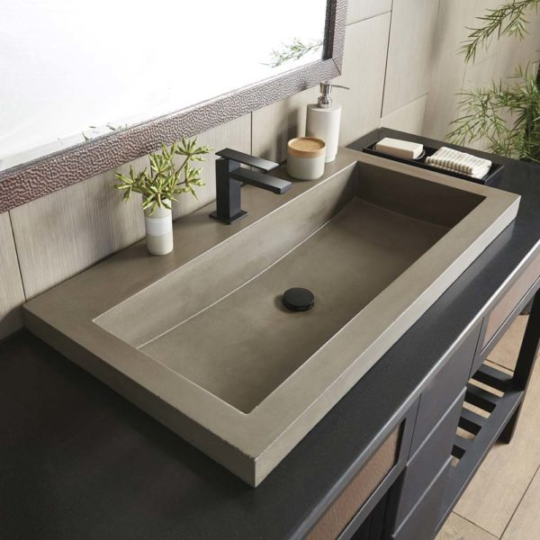 Trough 3619 Concrete Bathroom Sink in Earth (NSL3619-E)