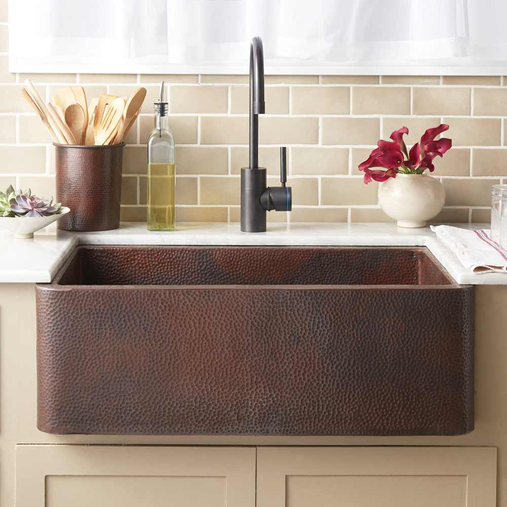Farmhouse 30 Copper Kitchen Sink in Antique (CPK294)