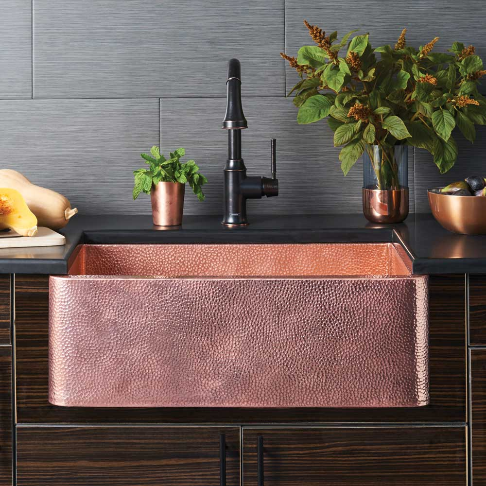 farmhouse 30 copper apron front sink rh nativetrailshome com kitchen sinks copper reviews kitchen sink copper plumbing