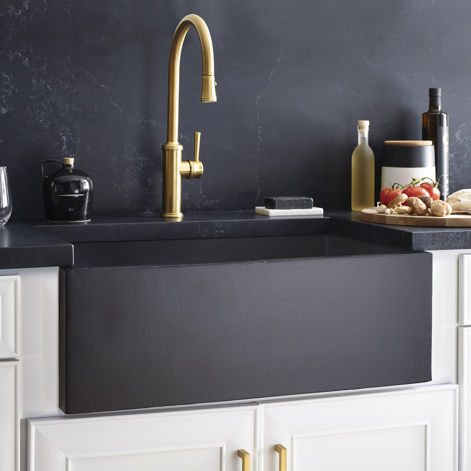 Farmhouse 3018 NativeStone Kitchen Sink in Charcoal (NSK3018-C)