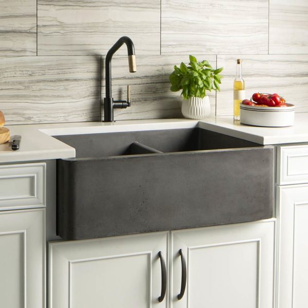 Farmhouse Double Bowl Concrete Kitchen Sink in Slate (NSKD3321-S)