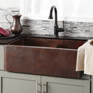 Farmhouse Duet Copper Kitchen Sink in Antique (CPK276)