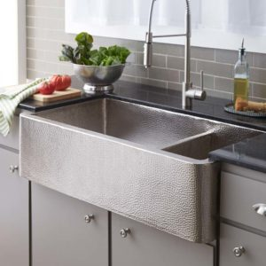 Farmhouse Duet Pro Copper Kitchen Sink in Brushed Nickel (CPK574)