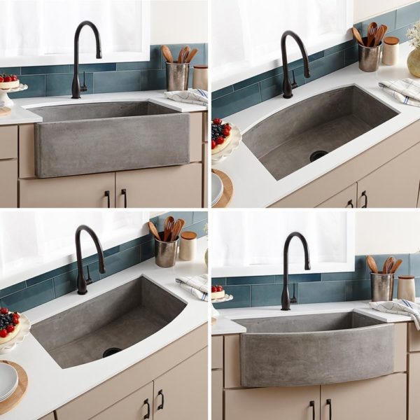 Farmhouse Quartet Concrete Kitchen Sink in Ash (NSKQ3320-A)