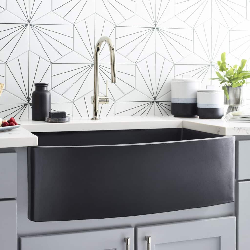 Farmhouse Quartet NativeStone Kitchen Sink in Charcoal (NSKQ3320-C)