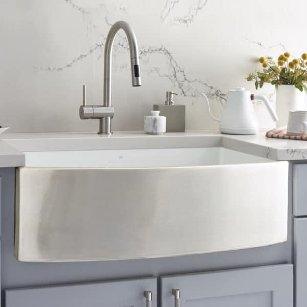 Rendezvous Fireclay Kitchen Sink in Silver (PMK3320-S)